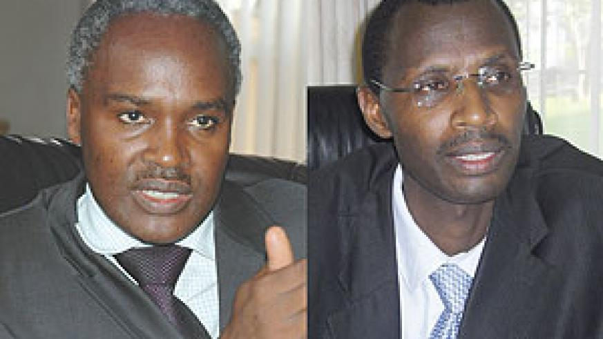 L-R :  Education Minister Charles Murigande;COMMENDED MOVE: Acting SFB Rector Dr Papias Musafiri