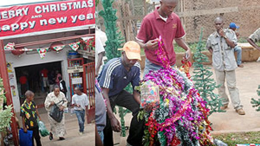 L-R :A boy and his mother walk out of Kenri 2000 Supermarket with a Chrismas tree;Street vendors display Christmas decor on Karisimbi Street in Kigali.(Photos/ J.Mbanda)