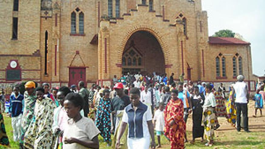 Some of the Christians who attended an early morning celebration of Mass at Butare Cathedral. (Photo: P. Ntambara)