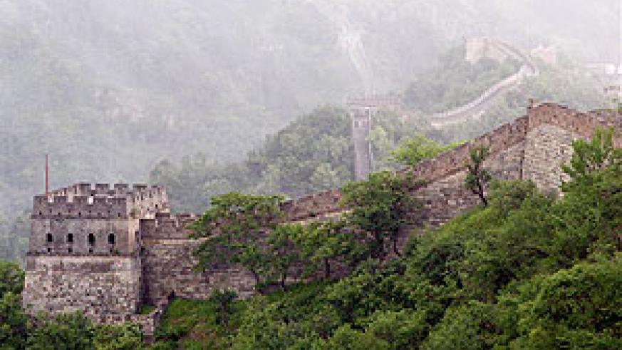 The great wall of China: approximately 4,163 miles from east to west of China.