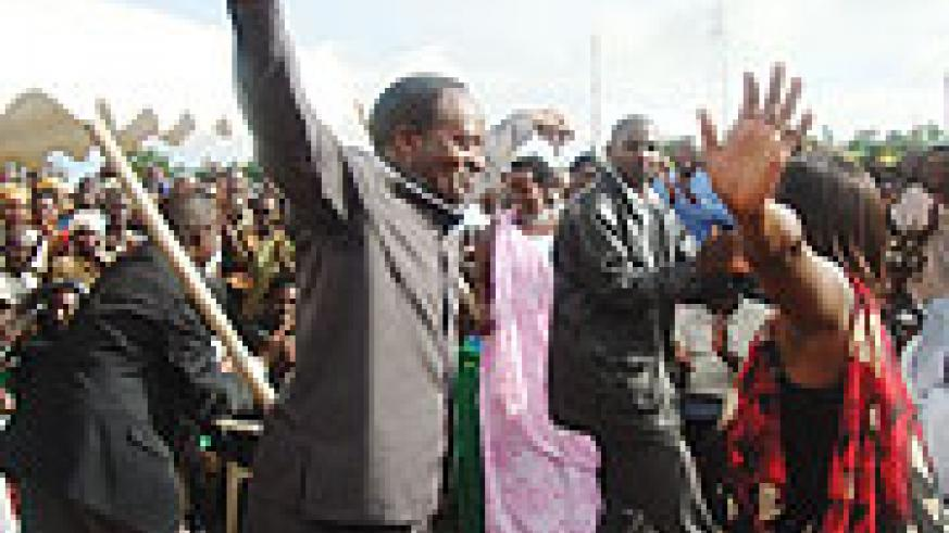 NURC executive secretary dancing with members of reconciliations clubs in Matimba sector. (Photo/ D. Ngabonziza)