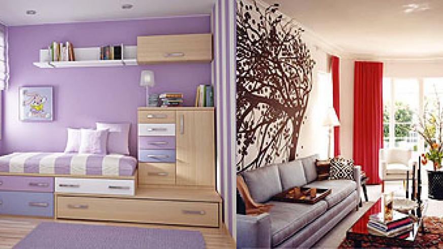 L-R : A cleverly structured children's bedroom where the walls have become part of the design.;A perfect combination of a wall painting and furnishing.
