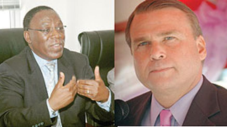L-R : MUCH HAS BEEN ACHIEVED; Amb. Eugene Munyakayanza;COMMENTED: Amb. Stuart Symington