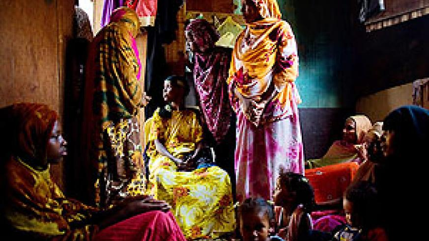 A room shared by 8 Somali refugee women in Bassatine, a slum area of Aden, Yemen