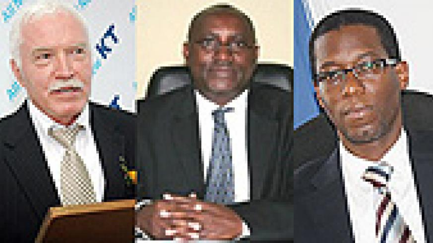 Joe Ritchie, former CEO of Rwanda Development Board, Henry Gaperi , Manager Social Security of Rwanda and  Alex Kamara, CEO of Tigo Rwanda were nominated for the CEO of the year 2009. (File photo)