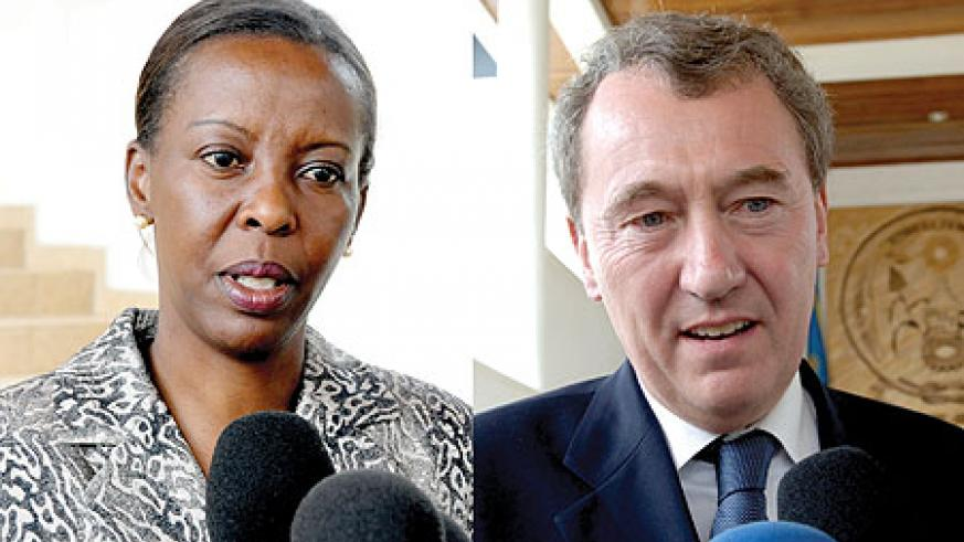 L-R : Foreign Affairs minister Louise Mushikiwabo;The head of the delegations of Dutch MPs, Henk Jan Ormel