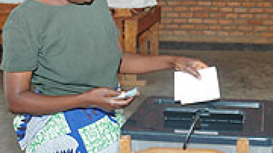 A voter casts her  vote during the the by-elections on Saturday. (Photo/F.Goodman)