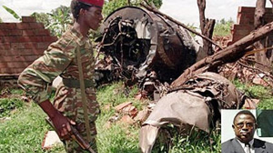 Parts of President Habyarimana's plane. Inset, a probe into the crash points out Col. Theoneste Bagosora as the principle culprit.