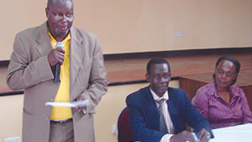 Uganda's State Minister for Fisheries, Fred Mukisa addressing the forum yesterday (Photo: E. Kabeera)