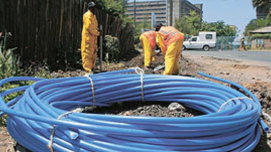 Fibre optic cables being laid.