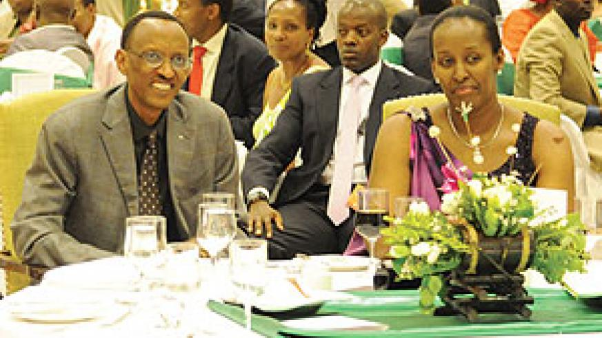 President Kagame and Mrs Kagame at the event to award best young achievers. (Photo /Urugwiro Village)
