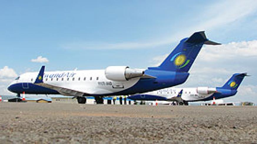 The newly acquired CRJ 200s by Rwandair