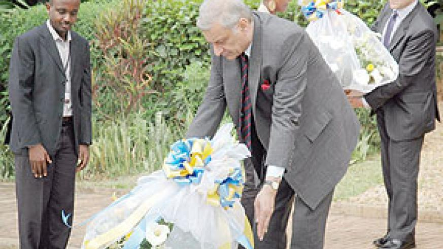 Commonwealth Secretary General, Kamalesh Sharma, laying a wreath  at Kigali Genocide Memorial Centre yesterday.(Photo J Mbanda)