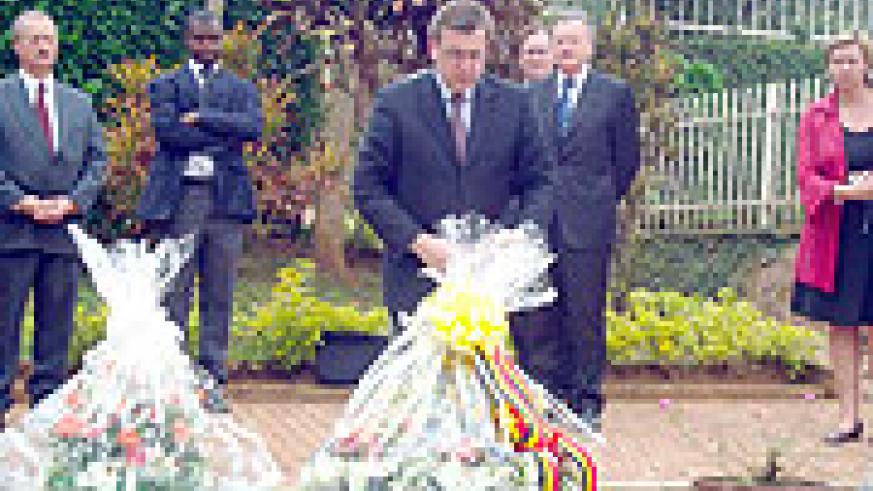 The Belgian Foreign Affairs Minister, Steve Vaneckere, after laying a wreath at Kigali Memorial Centre yesterday (Photo G Muramila).