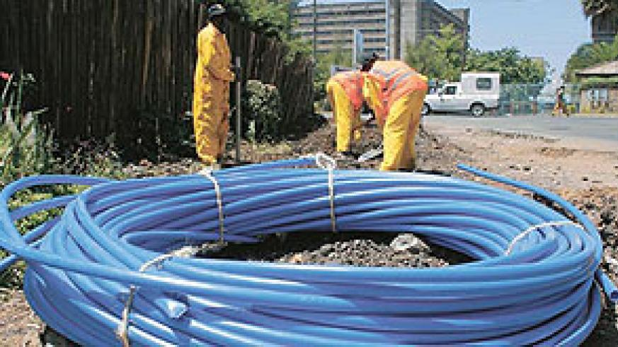 Seacom's undersea fibre-optic cable being laid.