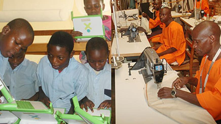L-R : Every child has a right to improved  education through access to ICT ;TIG has enabled convicts to gain skills that contribute to community development.