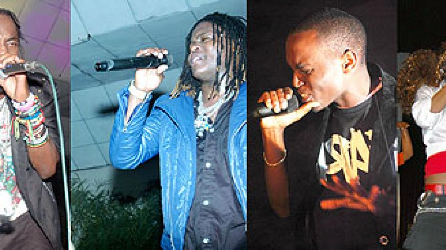 L-R : Radio and Weasel on stage ;Tom Close;Miss JoJo