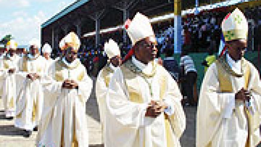 Bishop Kizito Bahujimihigo (left) at the Catholice Church Jubilee celebrations in Kabgayi. Photo/ D.Sabiiti