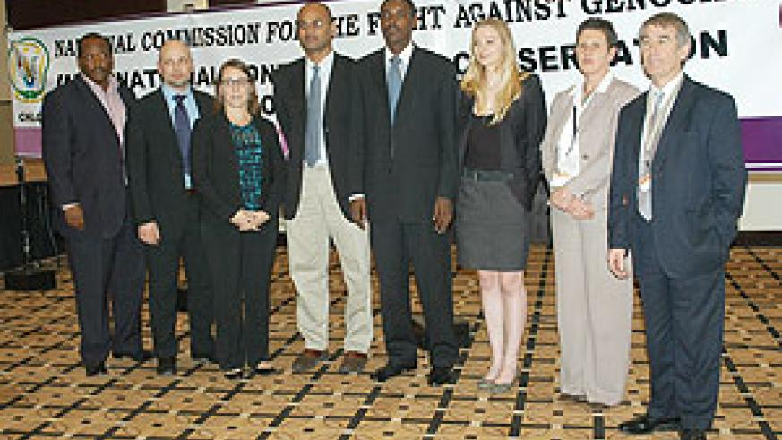 Participants in the two-day International conference on conservation of Genocide evidence at the Kigali Serena Hotel pose for souvenir photo (Photo G.Barya)