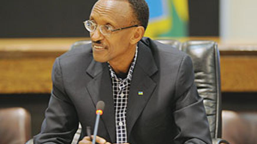 President Kagame during the press conference yesterday. (Photo Urugwiro Village)