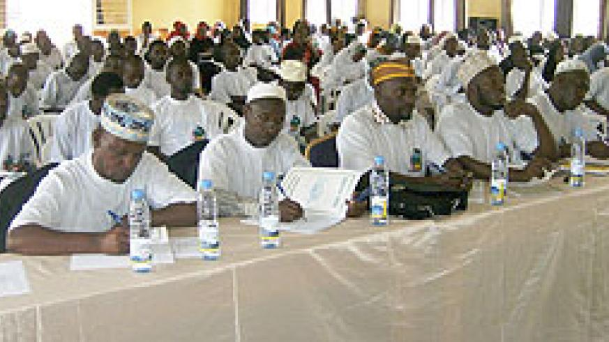 Moslems being taken through civic education on upcoming presidential polls in Rwamagana  yesterday. (Photo: S. Rwembeho)