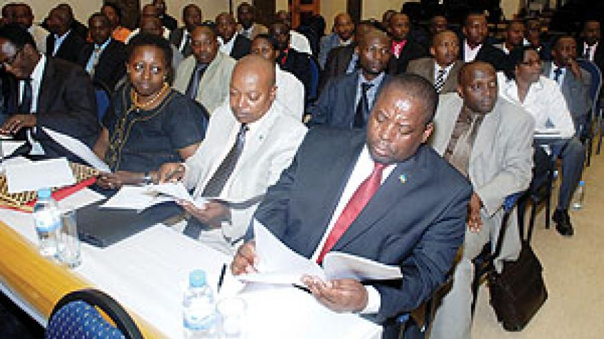 Some of the Local Government officials who attended yesterday's meeting with the President. (Photo Urugwiro Village)