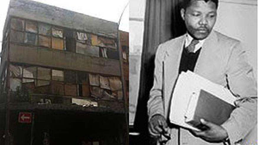 L-R : Nelson Mandela's former law offices ;Nelson Mandela as a lawyer