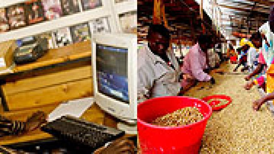 L-R : Rwandans busy sorting coffee ;The current Rwandan is more interested in what you have to offer