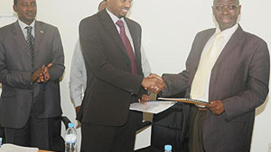 The New Times Managing Editor, Arthur Asiimwe, at Handover at Media High Council handover ceremony on Monday. (Photo/ F. Goodman)
