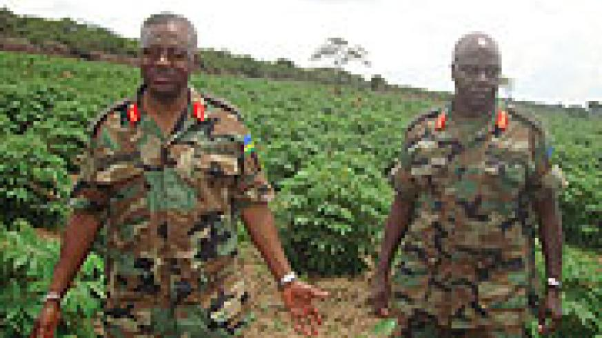 Gen Gatsinzi (L) and brig. Ibambasi  inspecting a cassava plantation in Bugesera yesterday.