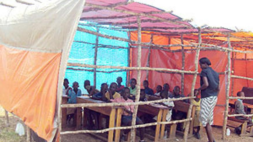 Part of the makeshift classrooms for the school that has been reopened by parents. (Photo / D. Ngabonziza)