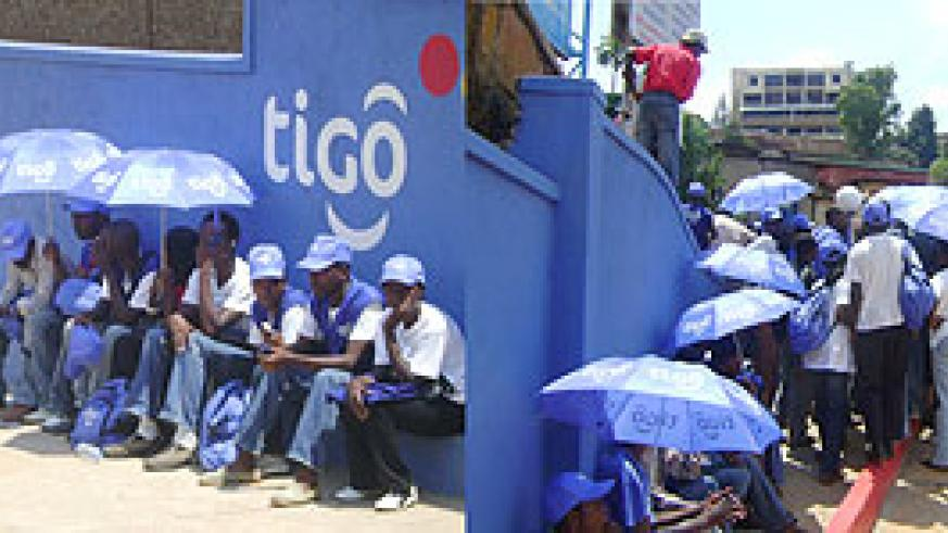 Tigo free-lance workers at the Muhima during the sit down strike. (Photo S Butera)