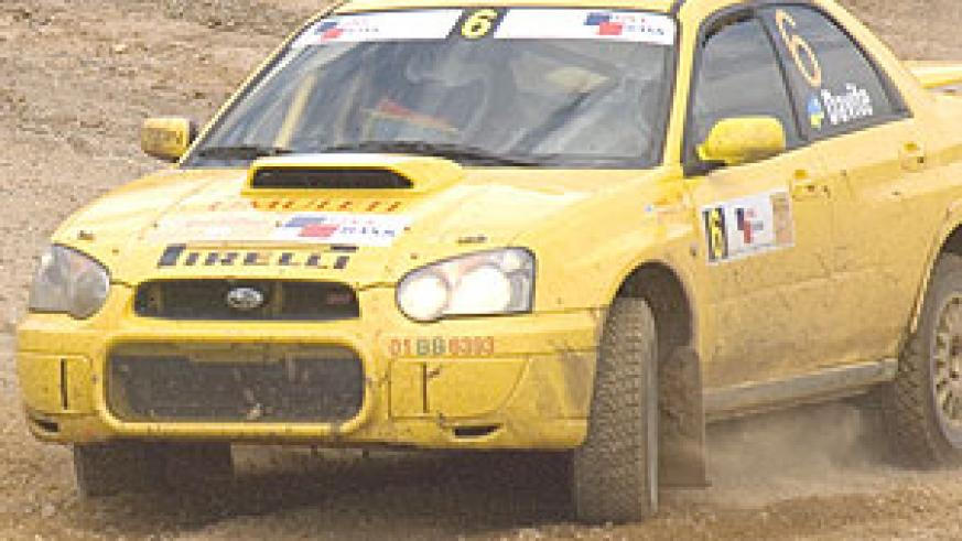 Giancarlo negotiates a corner during a recent rally. The national ace romped to a second spot finish in the Kobil rally of Tanzania which ended yesterday. (File photo)