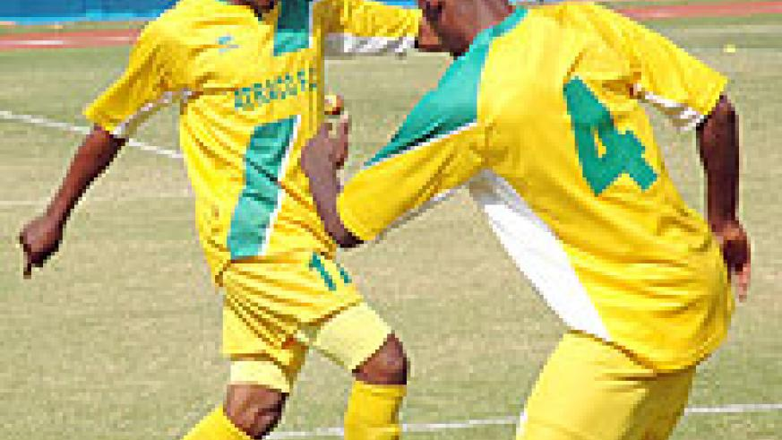 Atraco's Jean Lomami (L) was on target during the first leg. (File Photo)