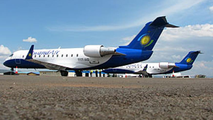 RwandAir's newly acquired CRJ 200s.