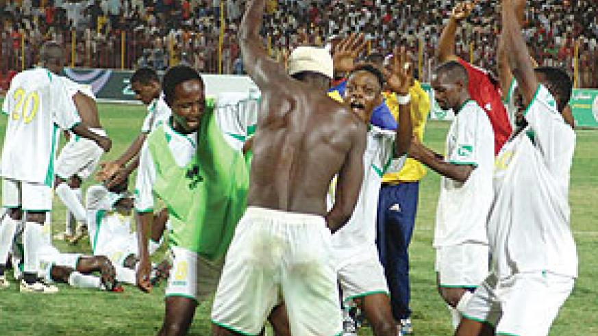 HAPPY MEMORIES: Atraco palyers celebrate after winning the 2009 Kagame Cup in Khartoum. The Rwandan side will be hoping for a happy return to Sudan when they take on El-Amal this evening. (File photo)