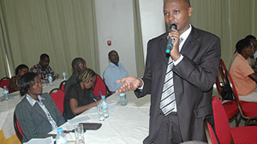 Moses Kazoora in charge of Customer relations in SSFR giving his presentation to Journalists on Thursday (Photo J Mbanda)
