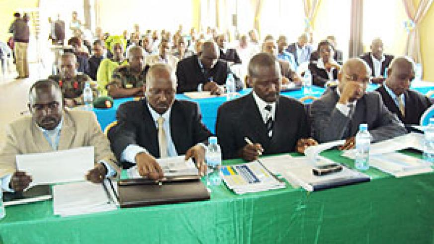 Local leaders during the meeting. (Photo: S. Rwembeho)