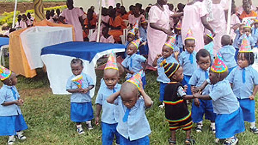 Some of the children who will benefit from the nursery school at Kigali Central Prison. (Photo; F. Kanyesigye)