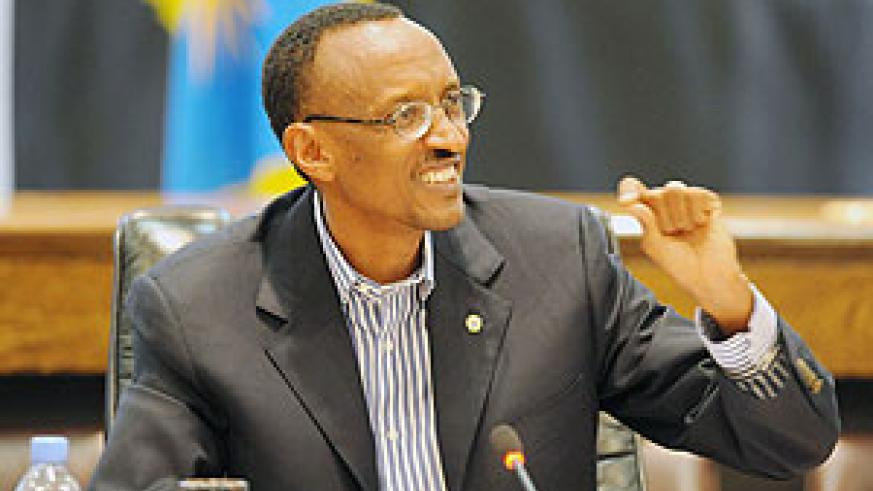 President Kagame emphasizing a point yesterday during a press conferencce. (Photo Urugwiro Village)