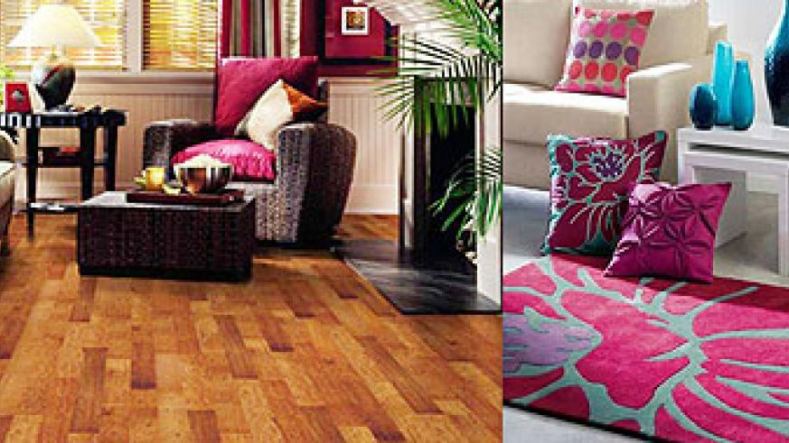 L-R : Different shades of wooden slabs add variety to the floor, and will prevent you from having one flat tone throughout the floor ;A simple floor will correspond well with a patterned rug