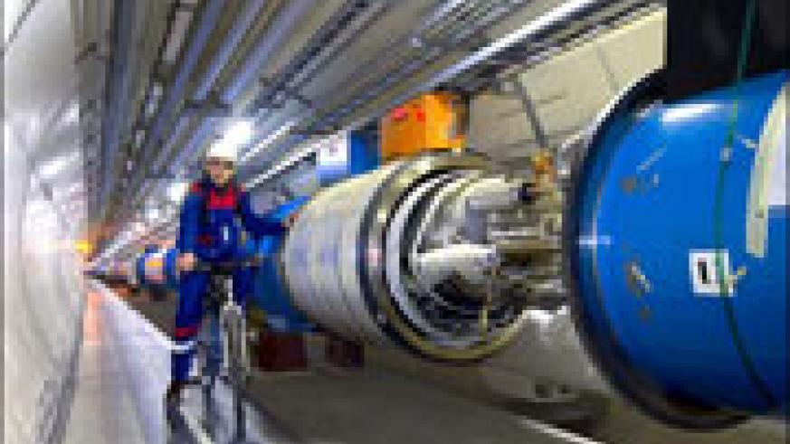 Part of the 27km tunnel housing the particle accelerator.  Image courtesy BBC.co.uk.