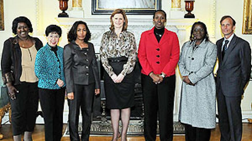 L-R: Dr. Agnes Binagwaho, Dr. Margaret Chan, Her Excellency Mrs. Azeb Mesfin, First Lady of Ethiopia, Mrs. Sarah Brown, First Lady Jeannette Kagame, Bience Gawanas, Mark Dybul