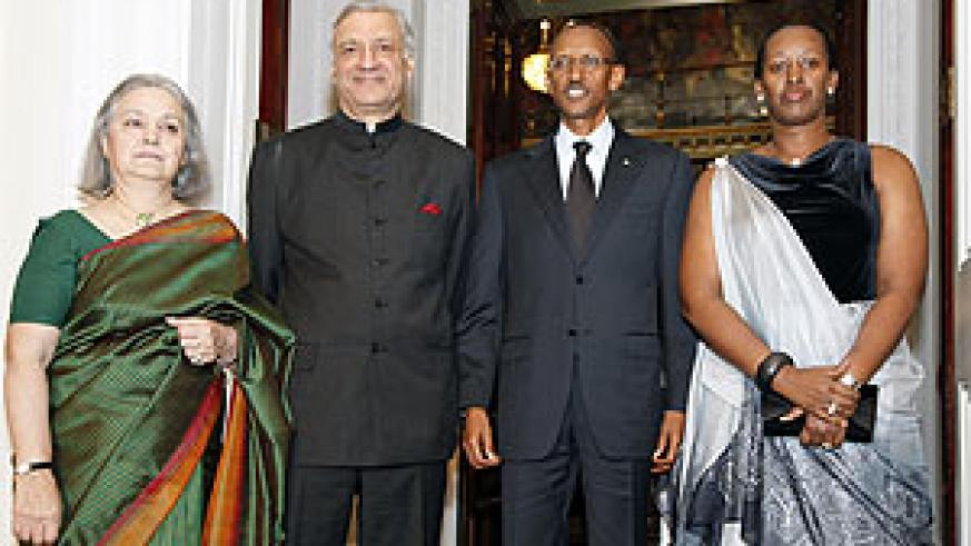 President and Mrs. Kagame pose for a photo with the Secretary General of the Commonwealth, Kamalesh Sharma and his wife at Marlborough   House yesterday. (Photo. A. Schulz)