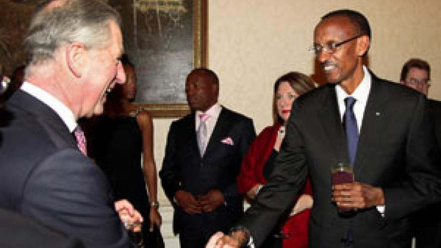 President Kagame with UK's Prince Charles at a reception to mark Commonwealth Day in London (Photo: Astrid Shulz)