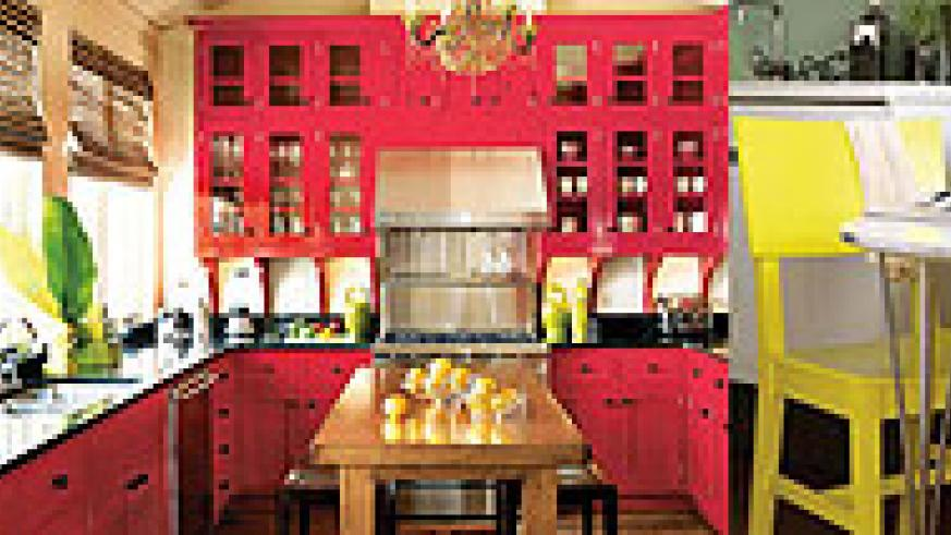 L-R : Shelving not only reduces on clutter but provides a place to display beautiful kitchen objects ; Paint cabinets a different colour or polish them rather than having them replaced ;A table in a kitchen will not only provide a place to have meals on,