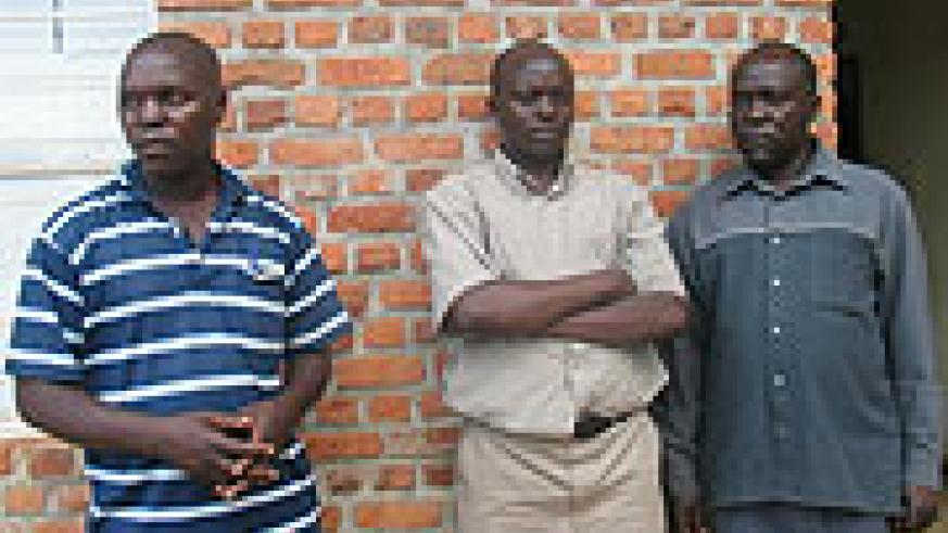 ARRESTED: Bisengabagabo, Hitiyaremye and Iryivuze at Muhima police station yesterday.(Photo/Police)