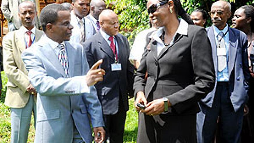 The Minister of Agriculture Agnes Kalibata (R) and UNECA Sub Region Office Director Antonio Pedro, chat during the meeting. (Photo J. Mbanda)