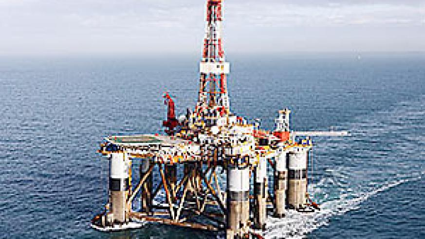 The Ocean Guardian, a semi-submersible oil drilling rig, under tow in British coastal waters