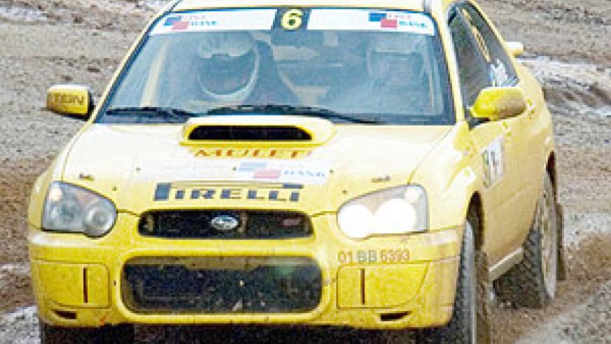 Davite powers his Subaru during the 2008 Irushanwa rally. The driver wants a podium finish in the KCB Safari rally. (File photo)